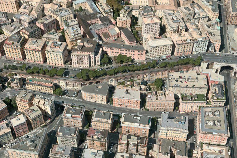 vista aerea della via degli archi